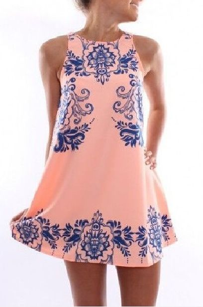 Pink Porcelain Floral Print Sleeveless Shift Dress is featuring floral pattern…