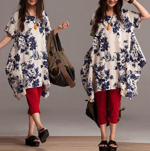 Loose Short Sleeve Long shirt asymmetric blouse by dreamyil, $108.00