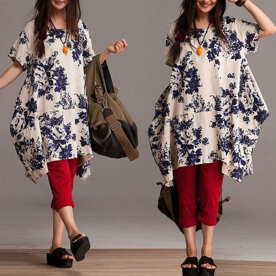 Loose Short Sleeve Long shirt asymmetric blouse by dreamyil, $108.00