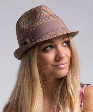 Purple Straw Bow-Accent Fedora #hat #womens