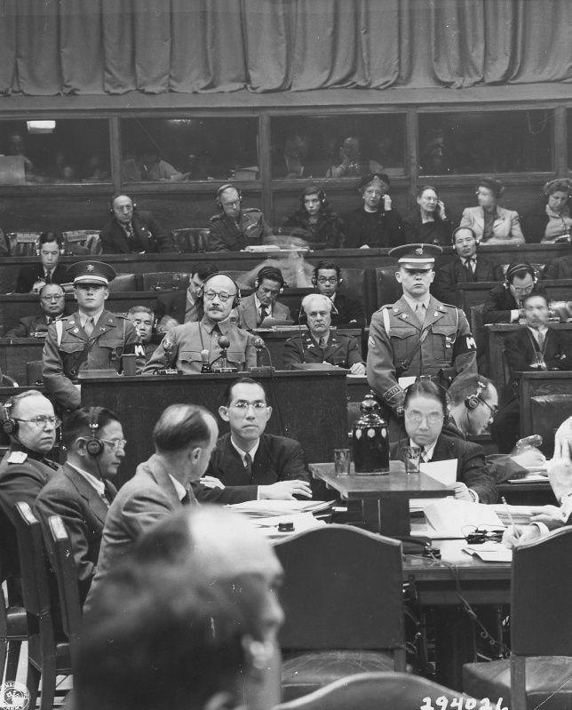Former Japanese Prime Minister Hideki Tojo General (Hideki Tōjō, 東 条 英 機, 1884-1948) provides the first evidence to the International Tribunal for the Far East (Tokyo trials) - The International Court of Japanese war criminals.