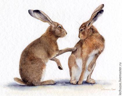 Купить Картина акварелью Зайцы. История отношений. Рис.2 - заяц, зайцы, картина акварелью