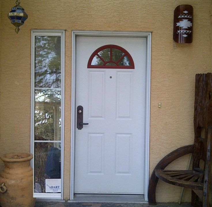 Rustic Door: Before.  This space is nothing special and the design is lost.