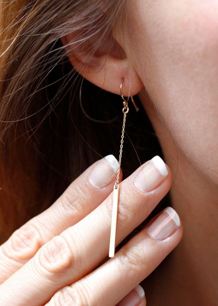Gold Drop Earrings, Dainty Bar Earrings, Gold Bar Earrings, Dangle Earrings by MinimalVS on Etsy