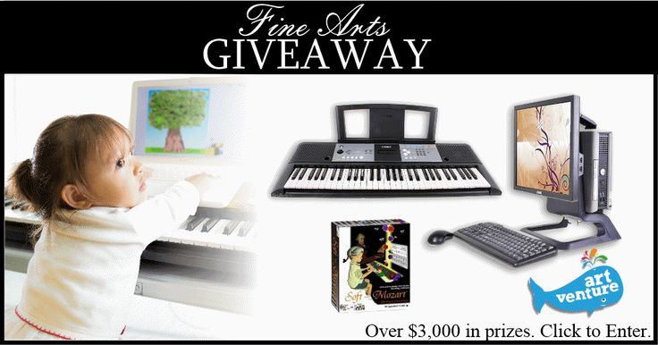 Check this out. Teach fine arts at home. Over $3000 in prizes including Dells computers, a Yamaha keyboard, Soft Mozart software and online art lessons.