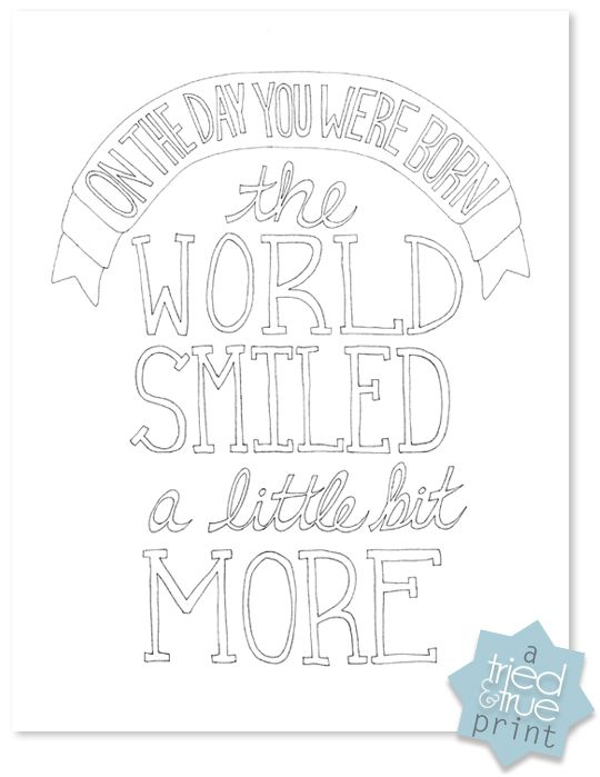 The world smiled coloring print