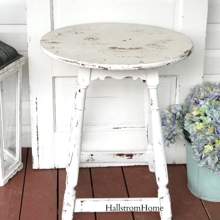 Distressed White Round Table