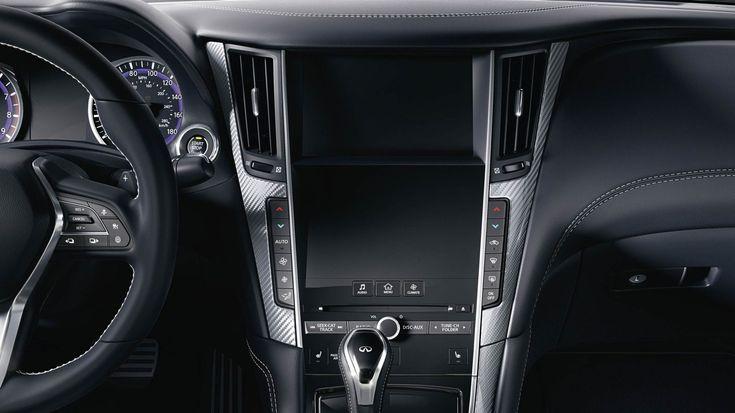 Premium Graphite Leather Dashboard Highlighting Double Screen Display Infiniti Usa Coupe Infiniti