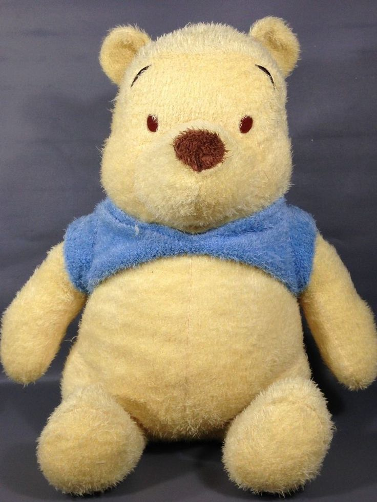 "Disney Winnie Pooh Bear Classic Plush 15"" Long Pile Stuffed Animal Bean Bag Baby #Disney"