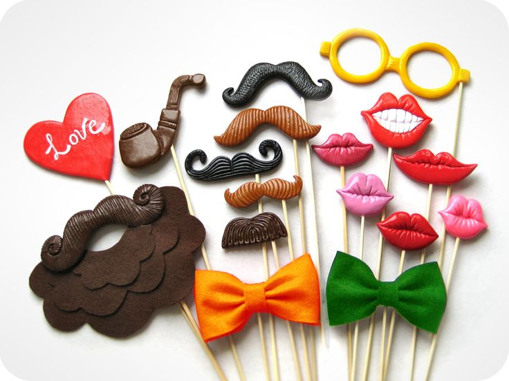 Plastic Mustaches, lips, glasses, bow ties and beard - Set of 17 Photobooth Props Set - Wedding, party photobooth props