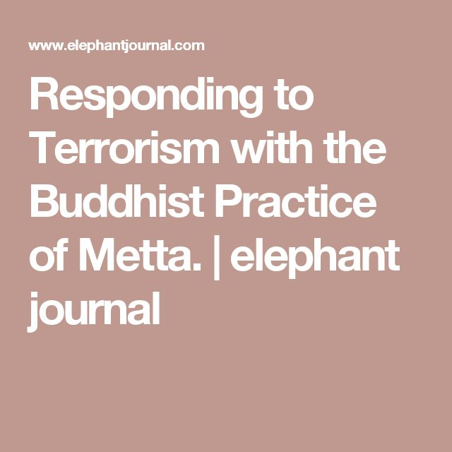 Responding to Terrorism with the Buddhist Practice of Metta. | elephant journal