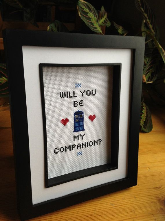 """For Valentine's Day: Doctor Who """"Will you be my Companion?"""" TARDIS cross stitch."""