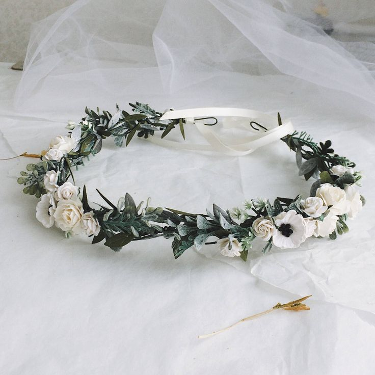 Excited to share the latest addition to my #etsy shop: White and light ivory floral crown White and silver headband wedding crown Flower crown Bridal floral crown Woodland crown Woodland headban