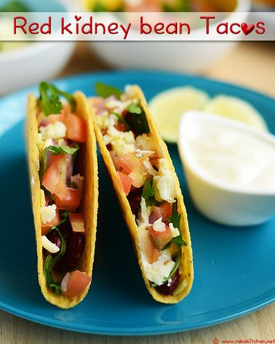 Vegetarian tacos recipe with easily available ingredients! Using red kidney beans/ Rajma as filling!
