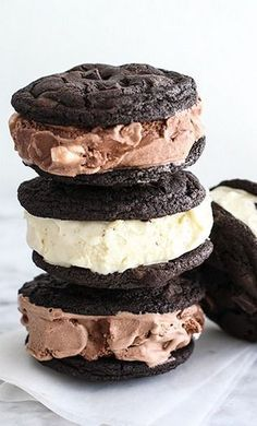 Double chocolate chip cookie ice cream sandwiches