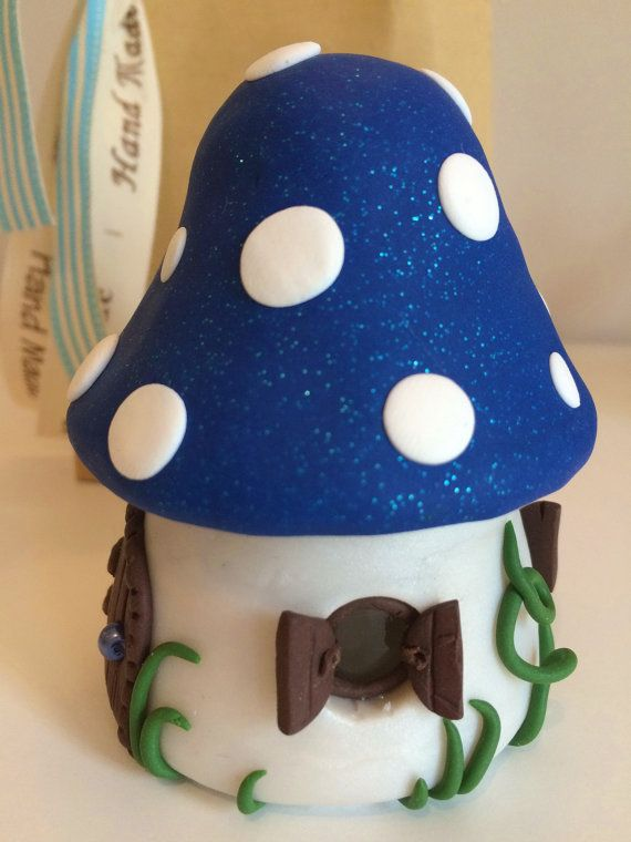 Tooth Fairy Mushroom Tooth Pot Blue with a Personalised Letter