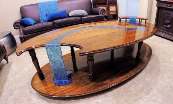Wood Table With Epoxy Glass Like Waterfall Resin