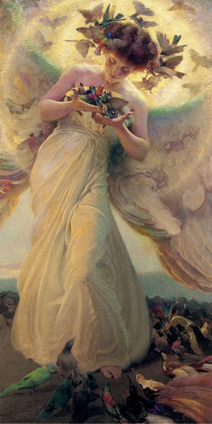 Franz Dvorak (Czech Republic, 1862 - 1927)The Angel of the Birds
