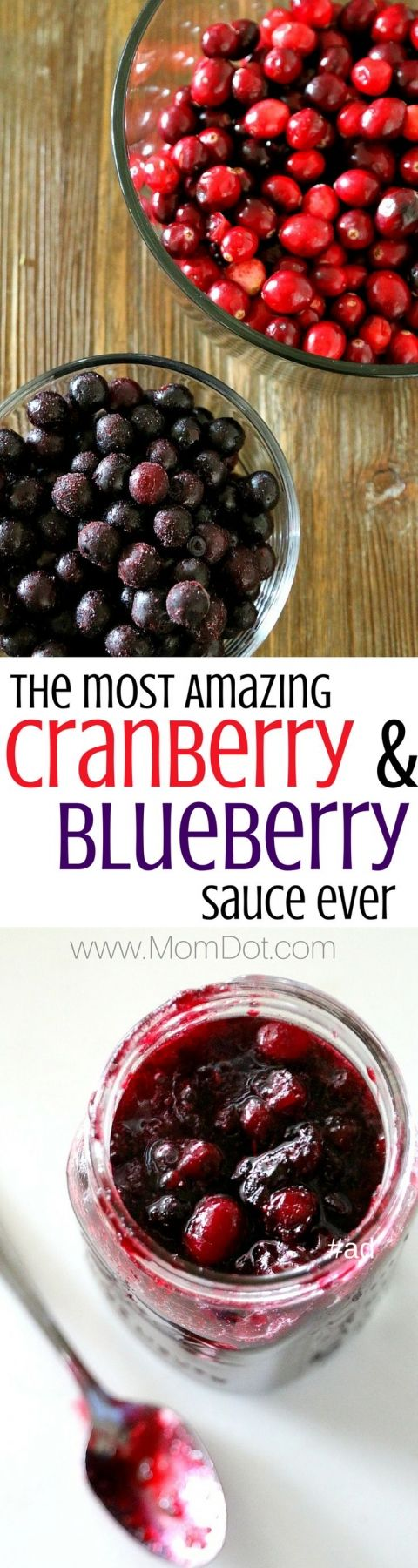 Cranberry and Blueberry Homemade Sauce Recipe (no alcohol) perfect for side dish at thanksgiving and Christmas, but even better for a delicious touch to pancakes, waffles and pies!