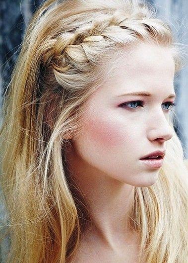 Braiding across your hairline creates a natural headband.