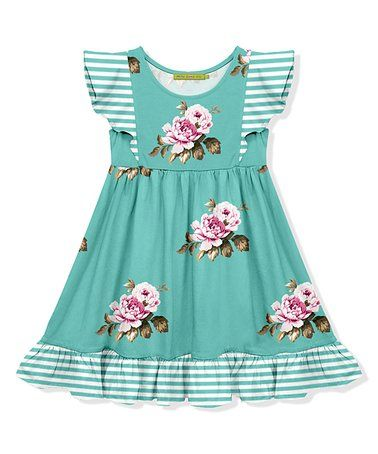 5d26d9aa7 Another great find on #zulily! Turquoise Floral Angel Sleeve Dress -  Toddler & Girls #zulilyfinds