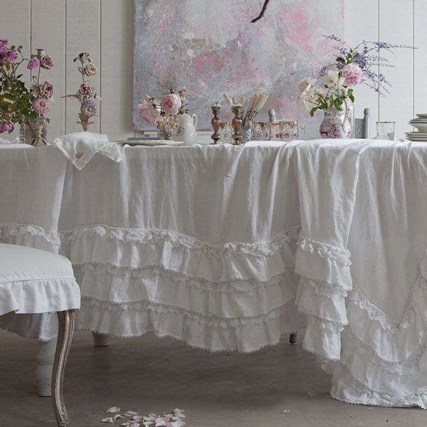 The White Petticoat Tablecloth Is Inspired By A Vintage Flamenco Dress From  Rachelu0027s Personal Collection. Tiers Of Ruffled White Linen And Silver  Trimmed ...
