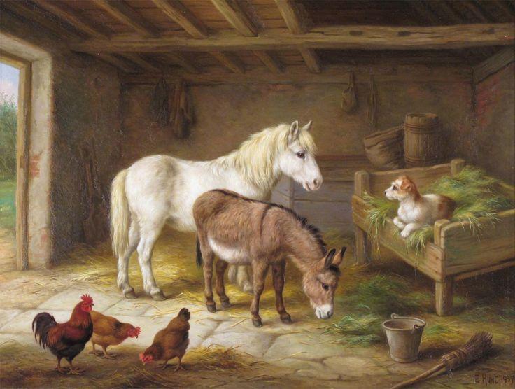 Edgar Hunt Chicken Paintings Animal Painter Painting