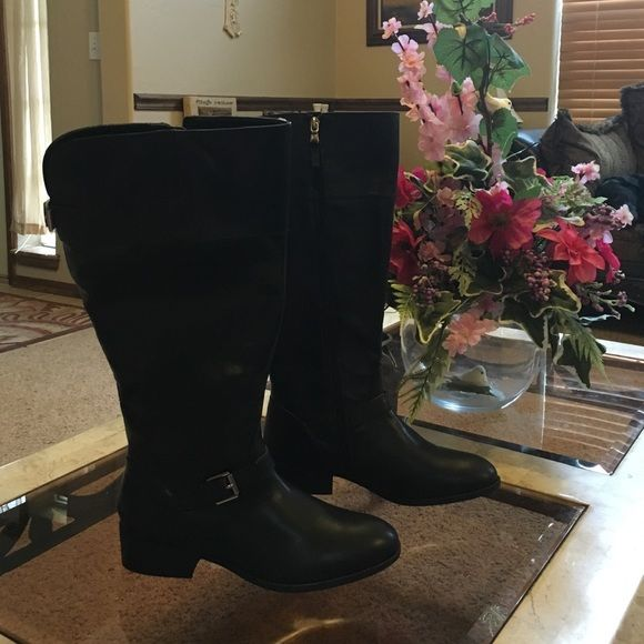 Champs Black  knee Boots New in box Champs black knee boots size 8 B man made uppers fabric lining. Chaps Footwear is engineered for maximum support and comfort great buy. CHAPS Shoes Heeled Boots