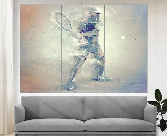 Abstract Tennis Canvas Print Tennis Wall Art Tennis Player Etsy In 2020 Abstract Canvas Prints Gallery Wrap Canvas