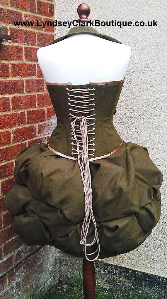 Militar británico steampunk corsé y puff falda costura traje