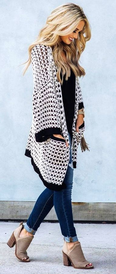 #fall #outfits  women's black and white cardigan