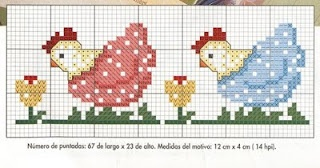 Cross-stitch Cute Hens.. no color chart available, just use pattern chart as your color guide.