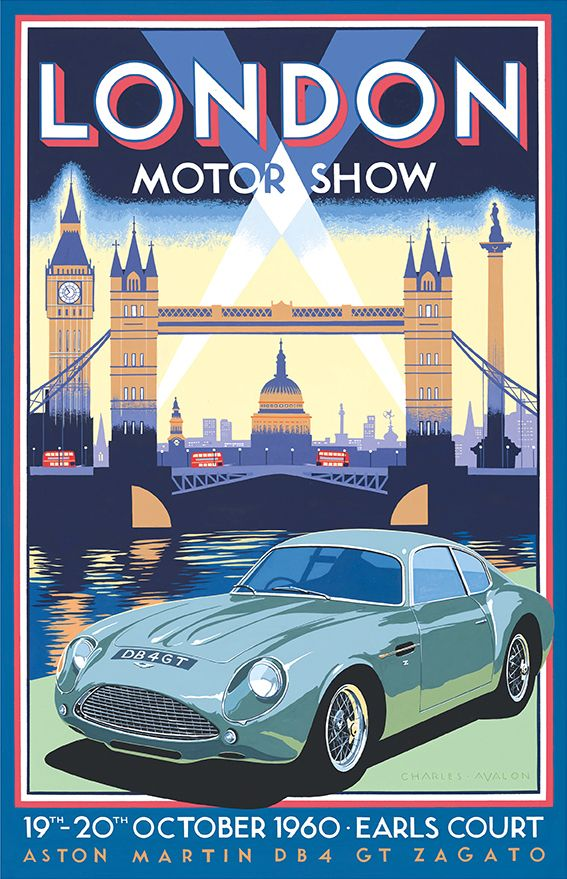 Retro London poster - PEL408: Aston Martin DB4GT Zagato – London Motor Show 1960 by Charles Avalon