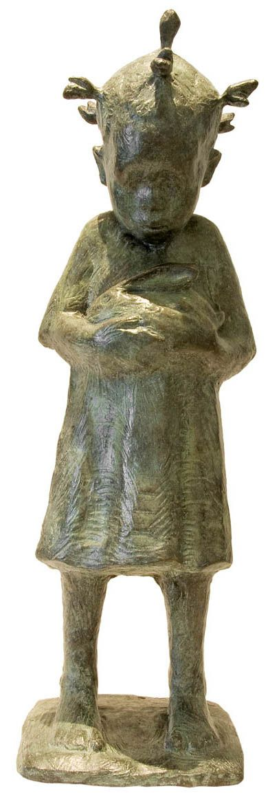 An Original #Sculpture by #TheoMegaw entitled: Girl With Rabbit #Bronze #SouthAfricanArtist For more please visit www.finearts.co.za