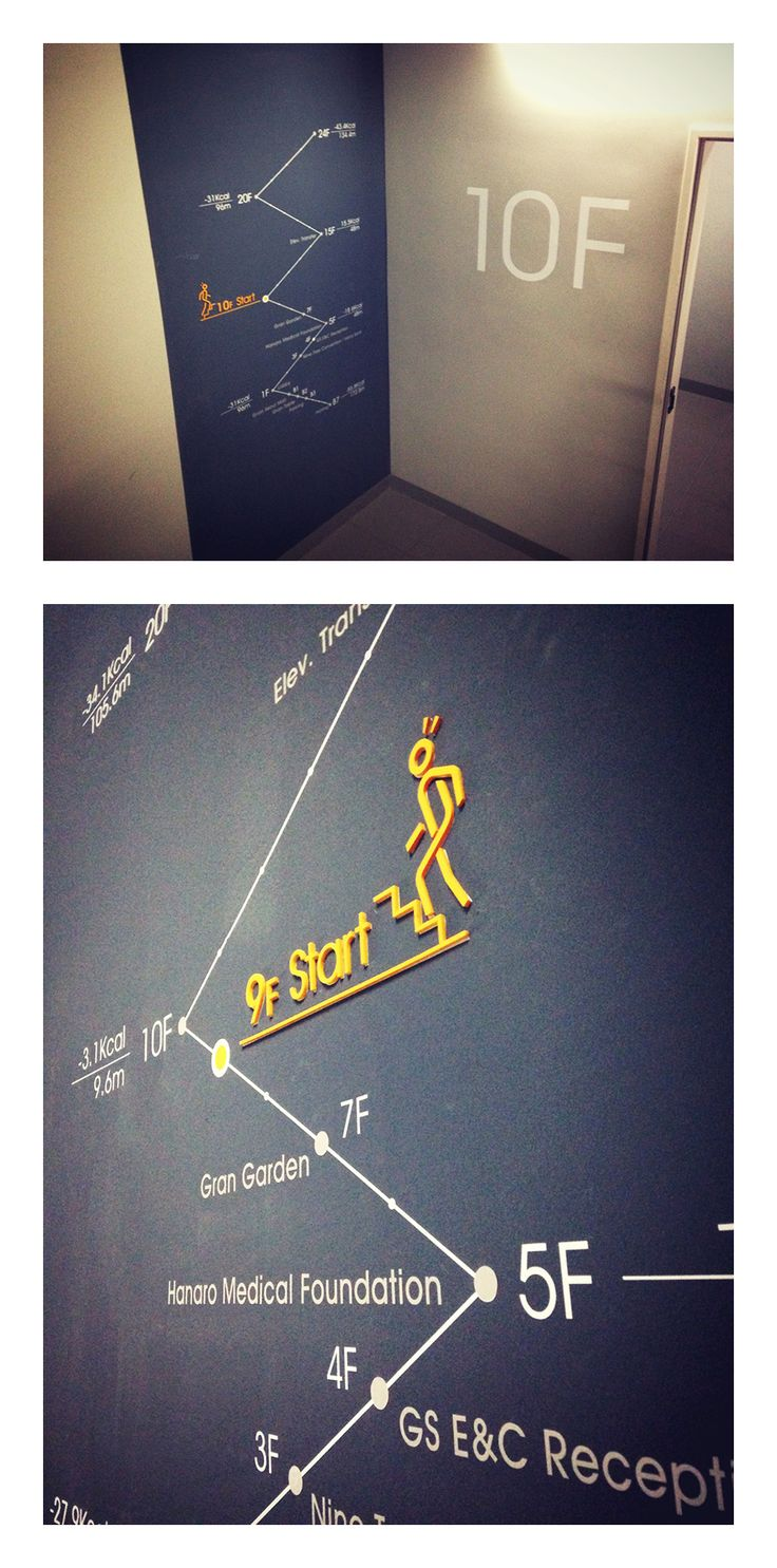Vinyl graphics and 3D letters make indoor wayfinding interesting, easy, and on-brand | GRANSEOUL Building / Stairs Signage & Pictogram