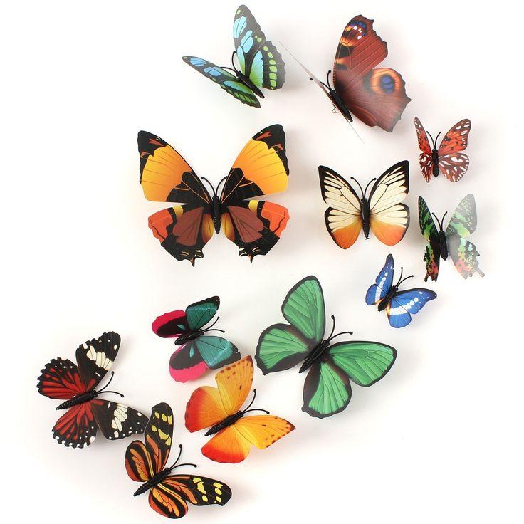 12db 3D Pillangó kitűző Fali matrica Főoldal Szoba függöny Esküvői dekoráció a Banggood