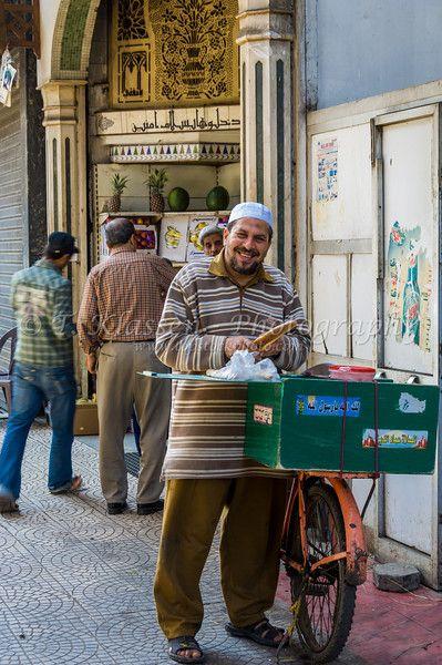 A bread vendor in Zamalek district of Cairo, Egypt.