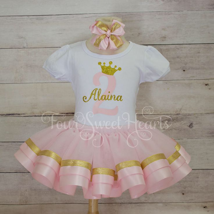 Girls Pink and Gold First Birthday, Princess First Birthday Outfit,  Pink and Gold Tutu Outfit, Girl Birthday Outfit, Pink and Gold Dress by FourSweetHeartsTutus on Etsy https://www.etsy.com/listing/455376760/girls-pink-and-gold-first-birthday