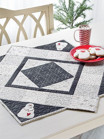 """This table mat will look great through the holidays and beyond. Finished size is 35 3/8"""" x 35 3/8""""."""