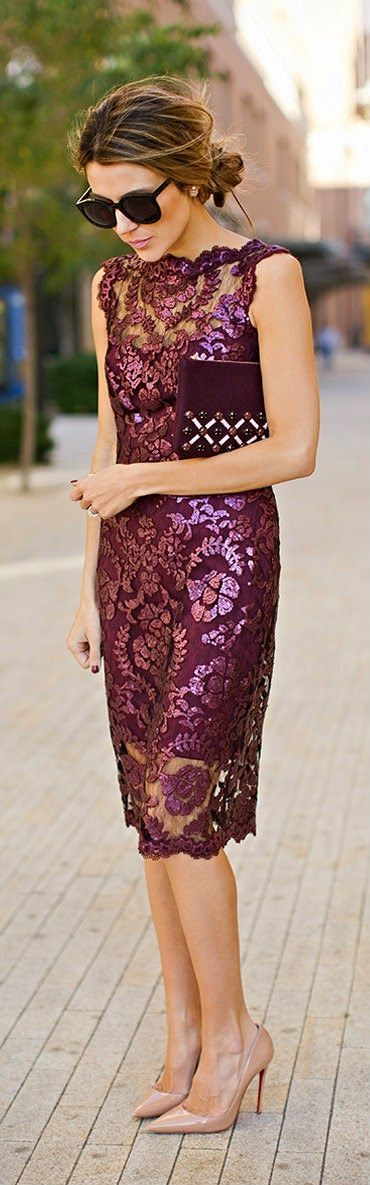 Burgundy Sequins Lace Dress with Beaded Clutch and Nude Patent Heel by Hello Fashion