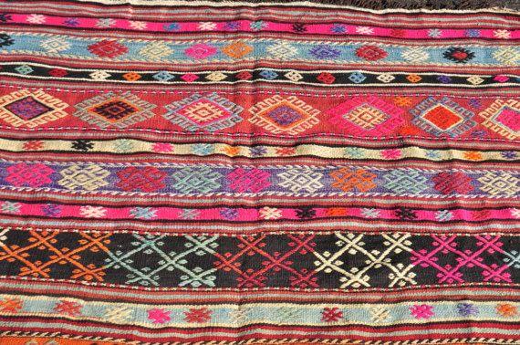 Roze Kilim tapijt 66 x4.6 voeten 200 x 140 cm Vintage door Ibracraft
