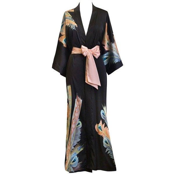Peacock Feather Kimono Robe ($50) ❤ liked on Polyvore featuring intimates, robes, kimono bathrobe, charmeuse robe, dressing gown, bride bathrobe and bride dressing gown