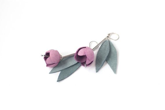 Leather earrings with Pink rose flowers and grey green leaves.