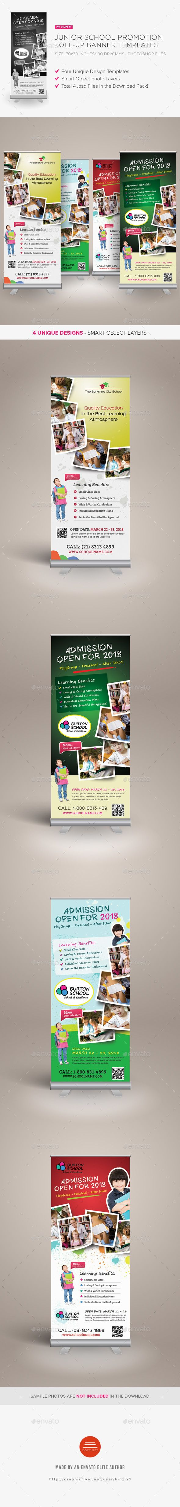 Junior School Promotion Rollup Banners — Photoshop PSD #signage #camp • Avai...
