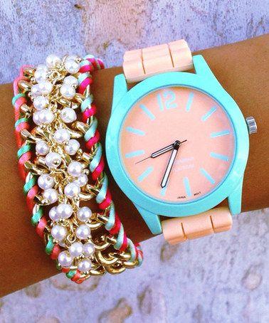 Look what I found on #zulily! Pastel Jenny Shae Stack Watch & Bracelet by Gogo Lush #zulilyfinds I'm thinking summer
