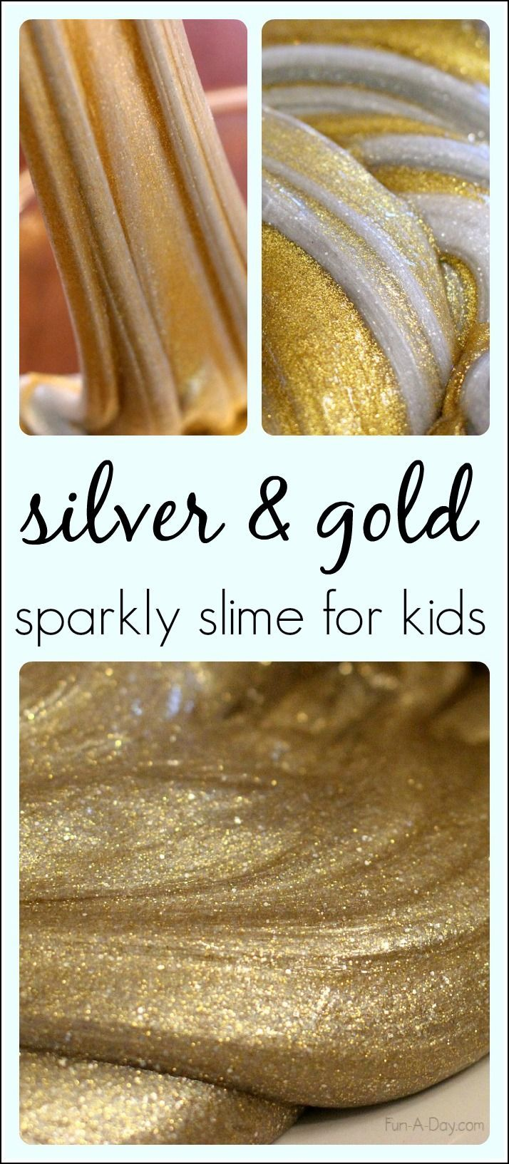Come check out our awesome play space, toy library, and birthday party venue at www.toybraryaustin.com!  Here's the recipe: http://fun-a-day.com/silver-gold-homemade-slime-new-year/