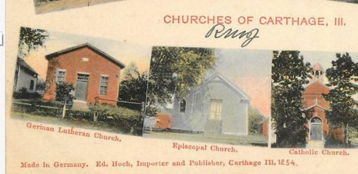 Carthage Illinois churches from a postcard located on Ebay.