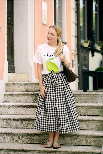 zaful t-shirt - Louis Vuitton bag - Birkenstock sandals - zaful skirt