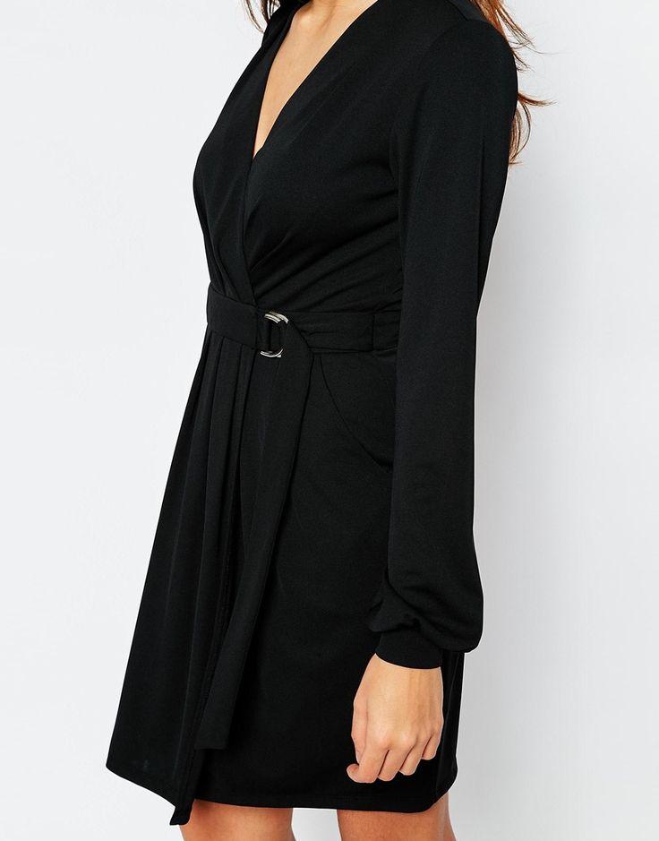 Изображение 3 из Креповое платье с запахом и D‑образным кольцом ASOS