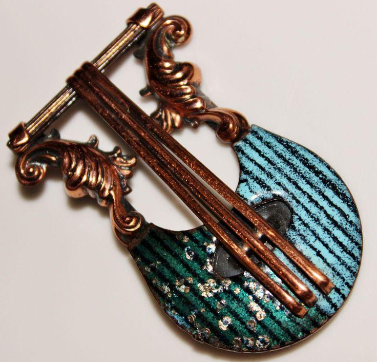 Vintage MATISSE Teal Green Speckled Copper Enamel LYRE Instrument Brooch, Music